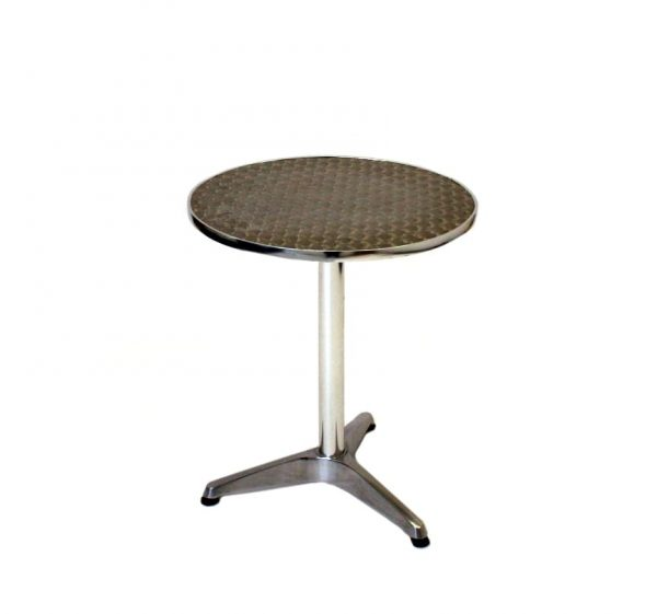 Round Aluminium Bistro Table - 60cm Dia Rimmed Edge - BE Furniture Sales