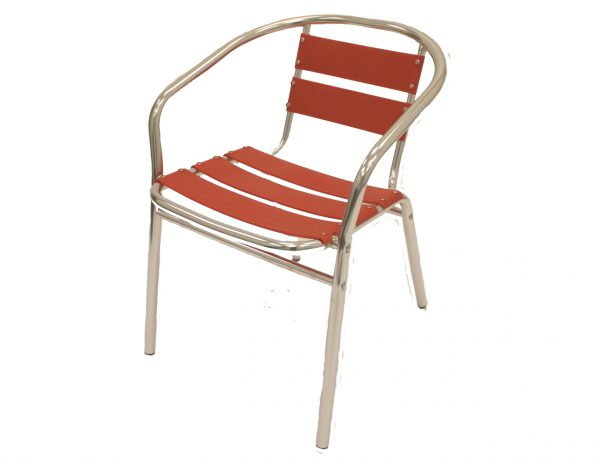 Red Aluminium Chair - Cafe, Restaurants & Home - BE Furniture Sales