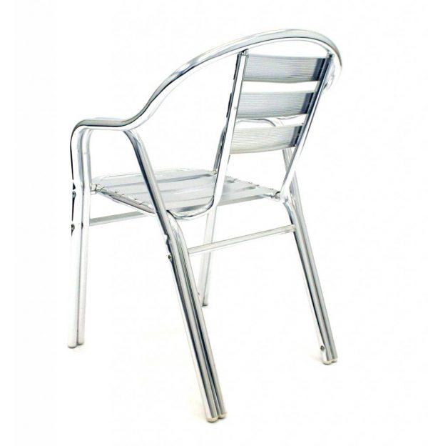 stackable double leg aluminium bistro chair - BE Furniture Sales