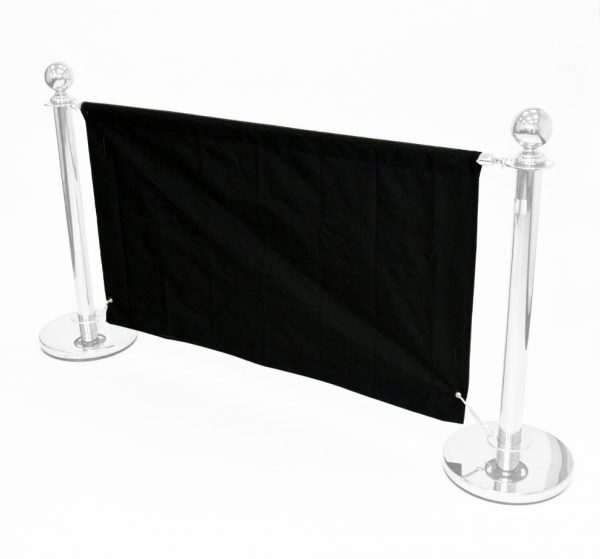 Black 1.6m Cafe Banners - Black Cafe Breeze Barriers - BE Furniture Sales