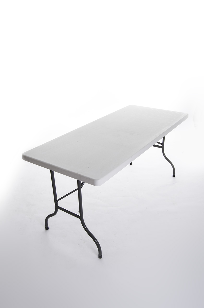 "Sturdy 5'4'' x 2' 4"" blow mold plastic table with steel folding legs - BE Event Hire"