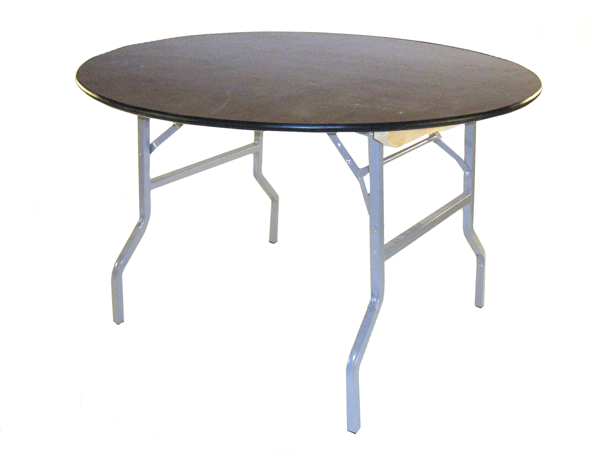 4' Diameter (122cm) varnished plywood top round tables with steel folding legs- BE Event Hire