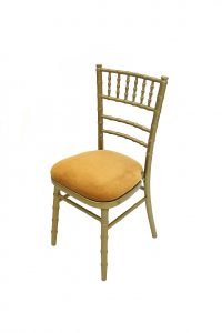 Gold wooden framed chiavari chair with a gold seat pad to buy - BE Furniture Sales