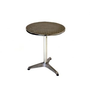 2' Diameter (60cm) aluminium table with an aluminium base and 3 adjustable plastic feet - BE Event Hire
