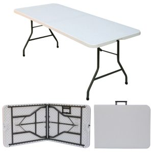 Sturdy 6' x 2'6'' blow mold plastic table with steel folding legs.- BE Event Hire