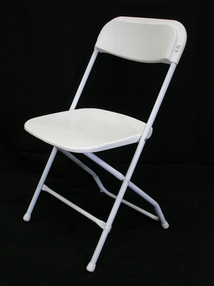 Lightweight tubular metal folding frame with a plastic seat, back and feet - BE Event Hire