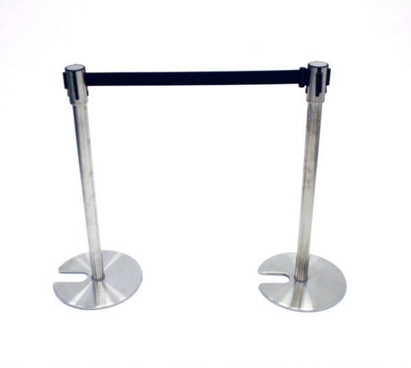 Stretch Belt Barrier Post (Black Belt) - BE Event Hire