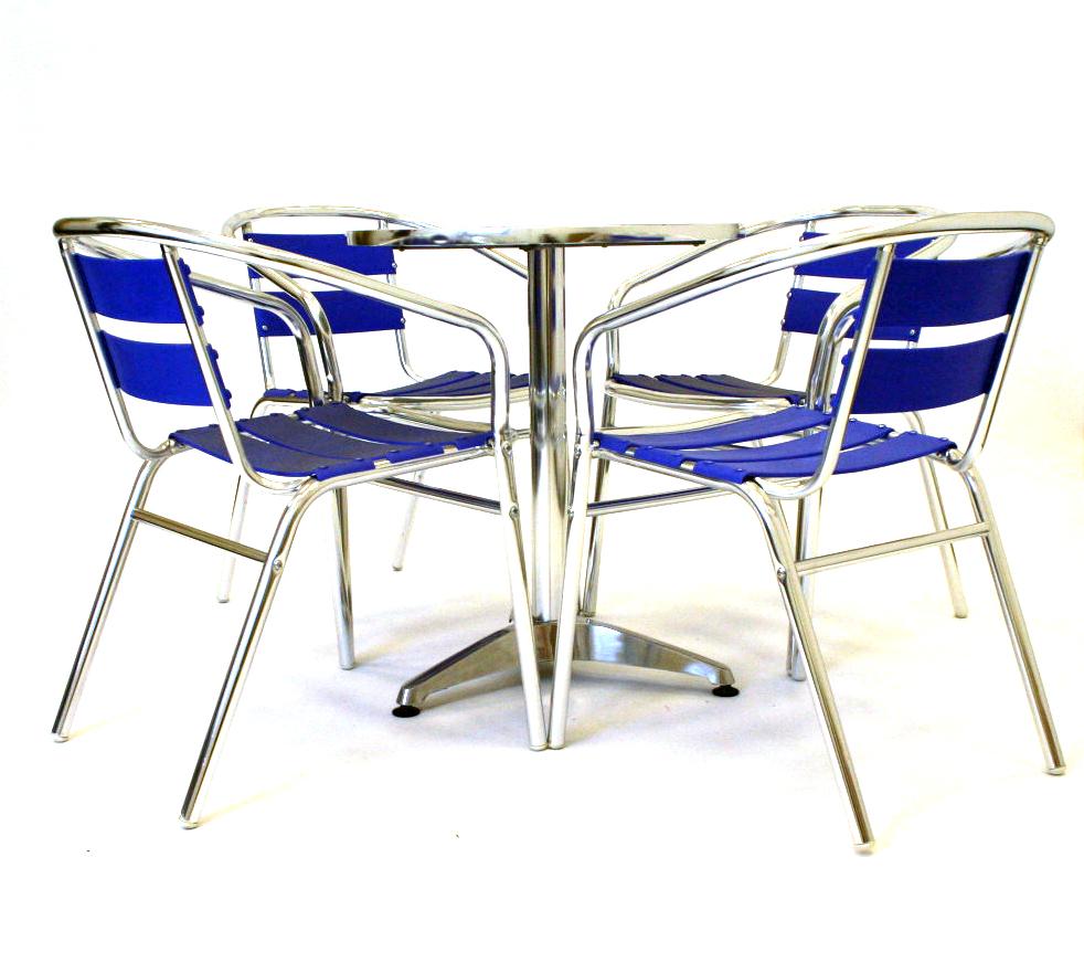 Blue Aluminium Garden Patio Balcony Furniture Set - BE Event Hire