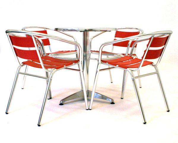 buy red Aluminium bistro garden furniture Set - BE Furniture Sales