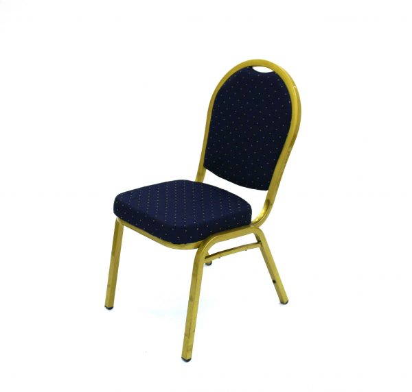 Ex hire gold steel framed chair with a dark blue padded seat & back - BE Event Hire