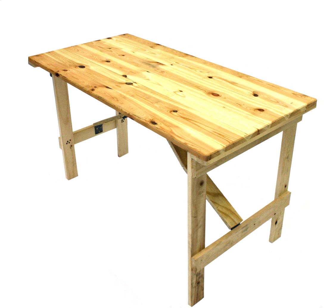"Very sturdy 4' x 2' 6"" tongue and groove trestle table with wooden folding legs.- BE Event Hire"