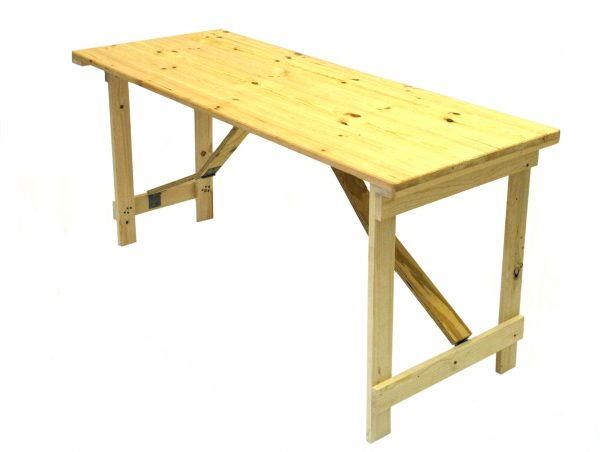 Very sturdy 5' x 2' tongue and groove trestle table with wooden folding legs. - BE Event Hire