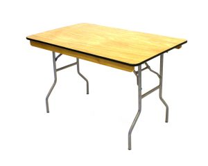 "Varnished Trestle Tables measuring 4' x 2'6""., BE Event Hire"