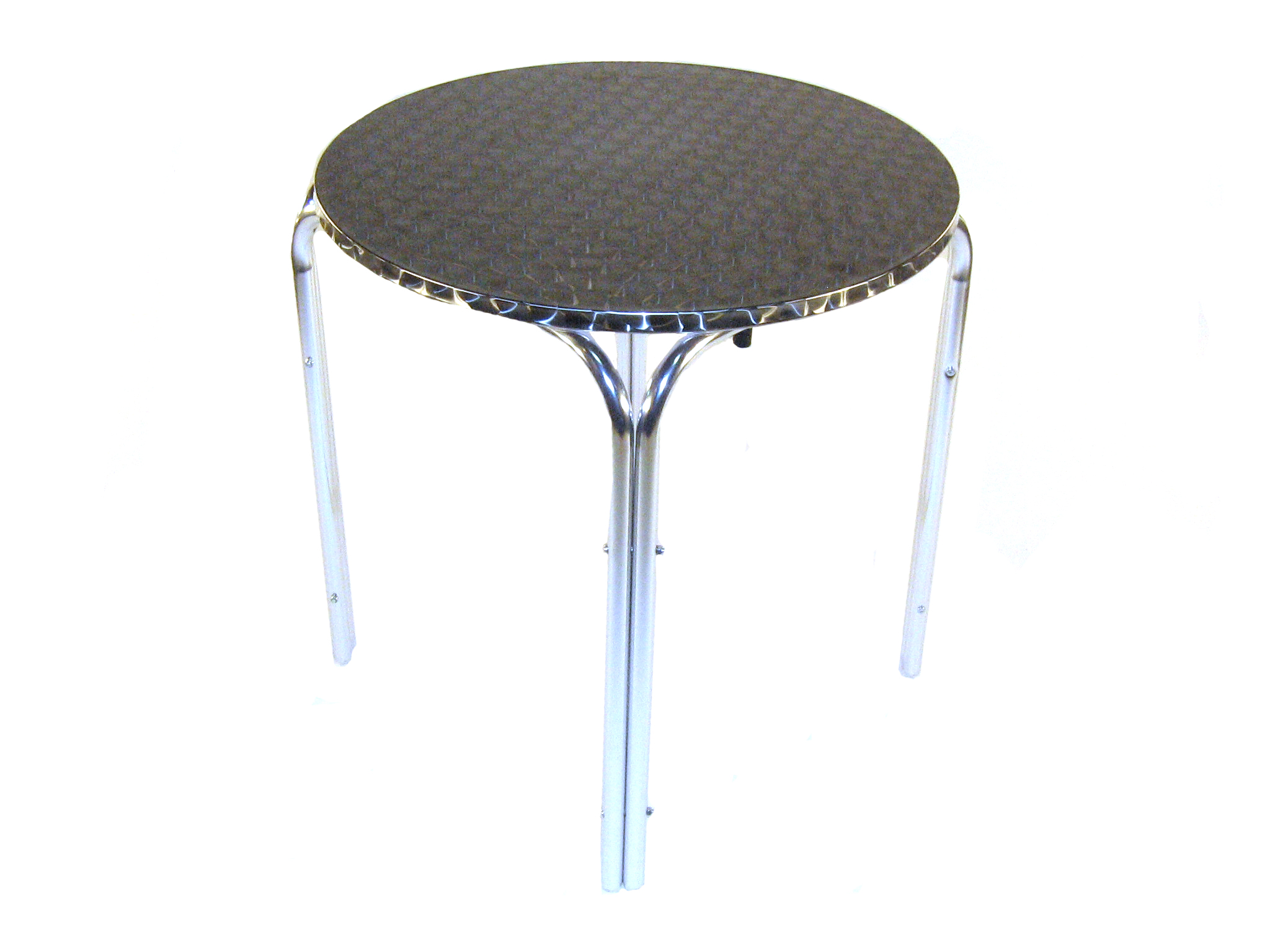 Aluminium Round Table - 70cm Dia Rolled Edge Table - BE Furniture Sales