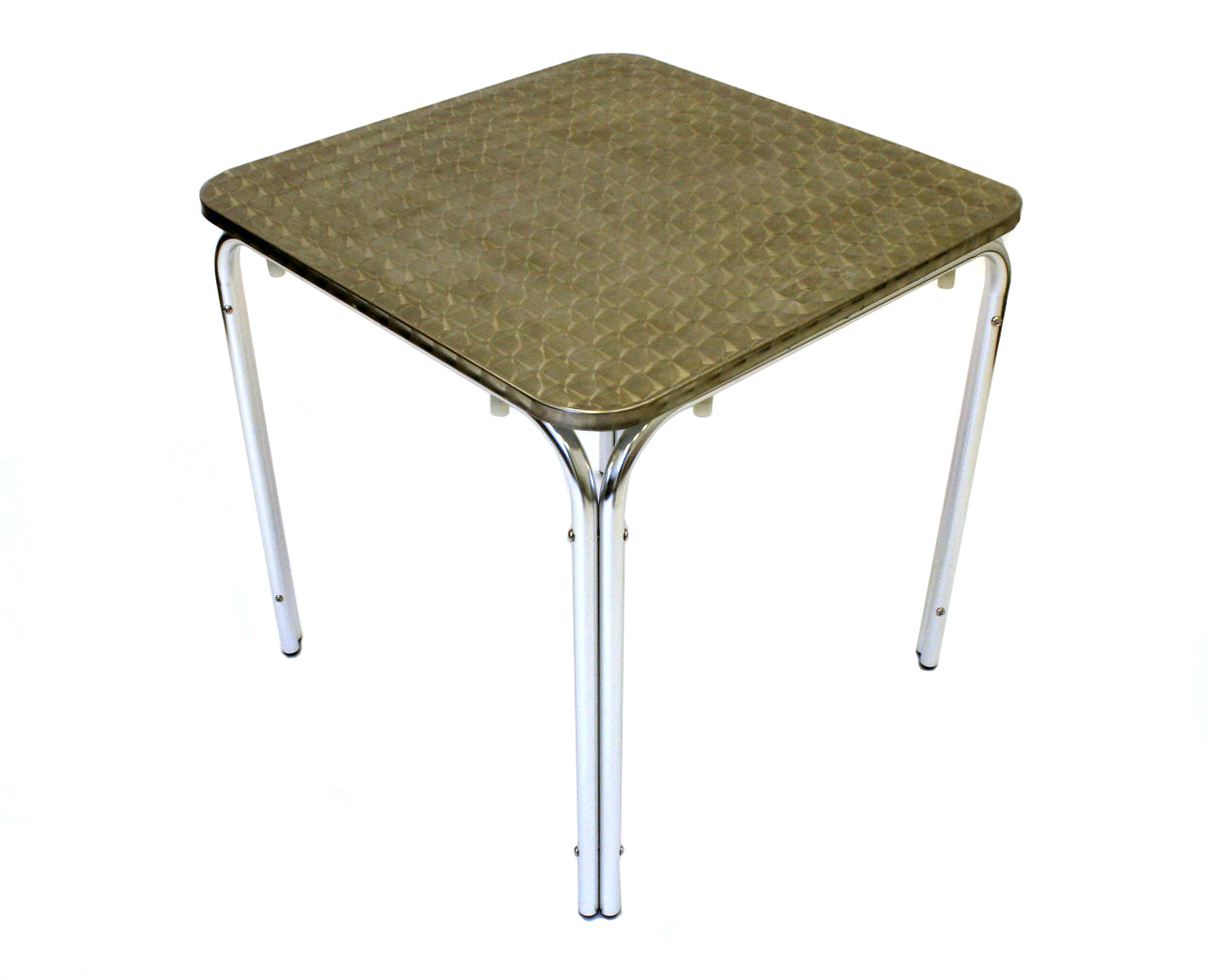 Square Aluminium Table - 80cm Dia, Rolled Edge - BE Furniture Sales