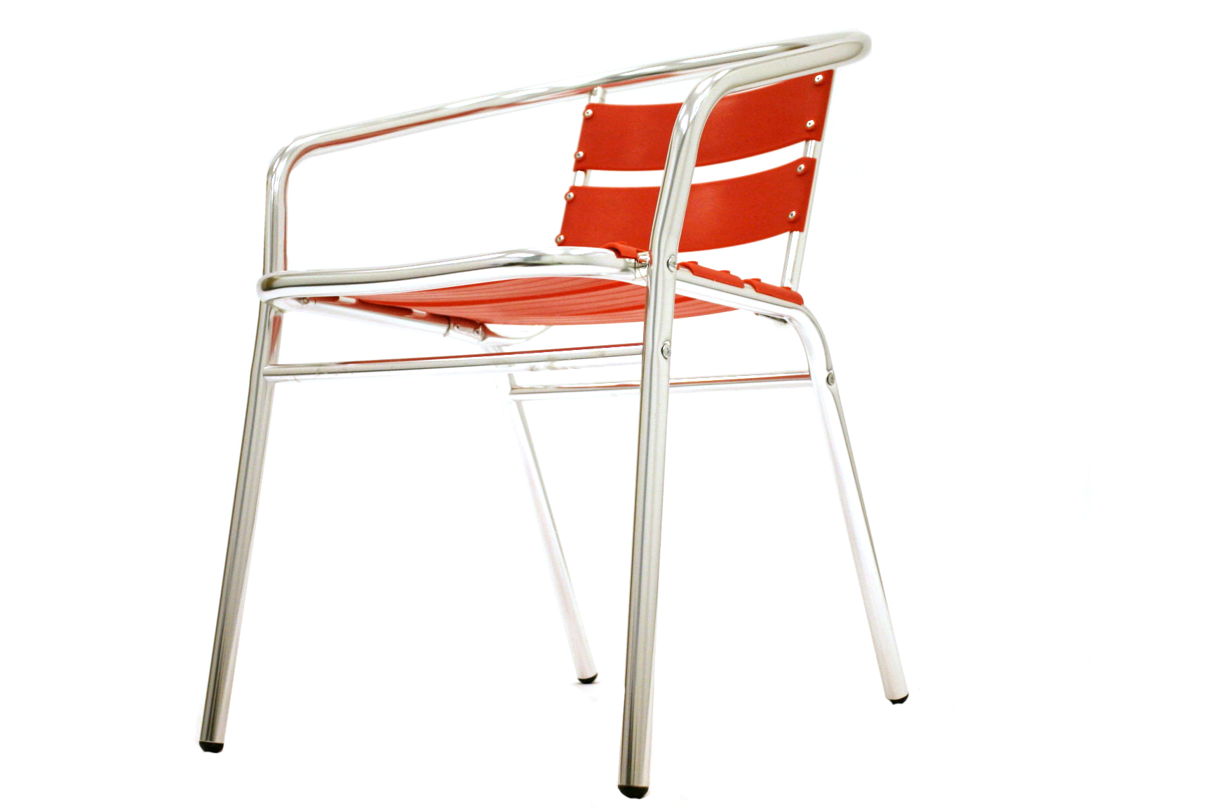 Lightweight tubular aluminium frame with a red plastic seat & back, BE Event Hire
