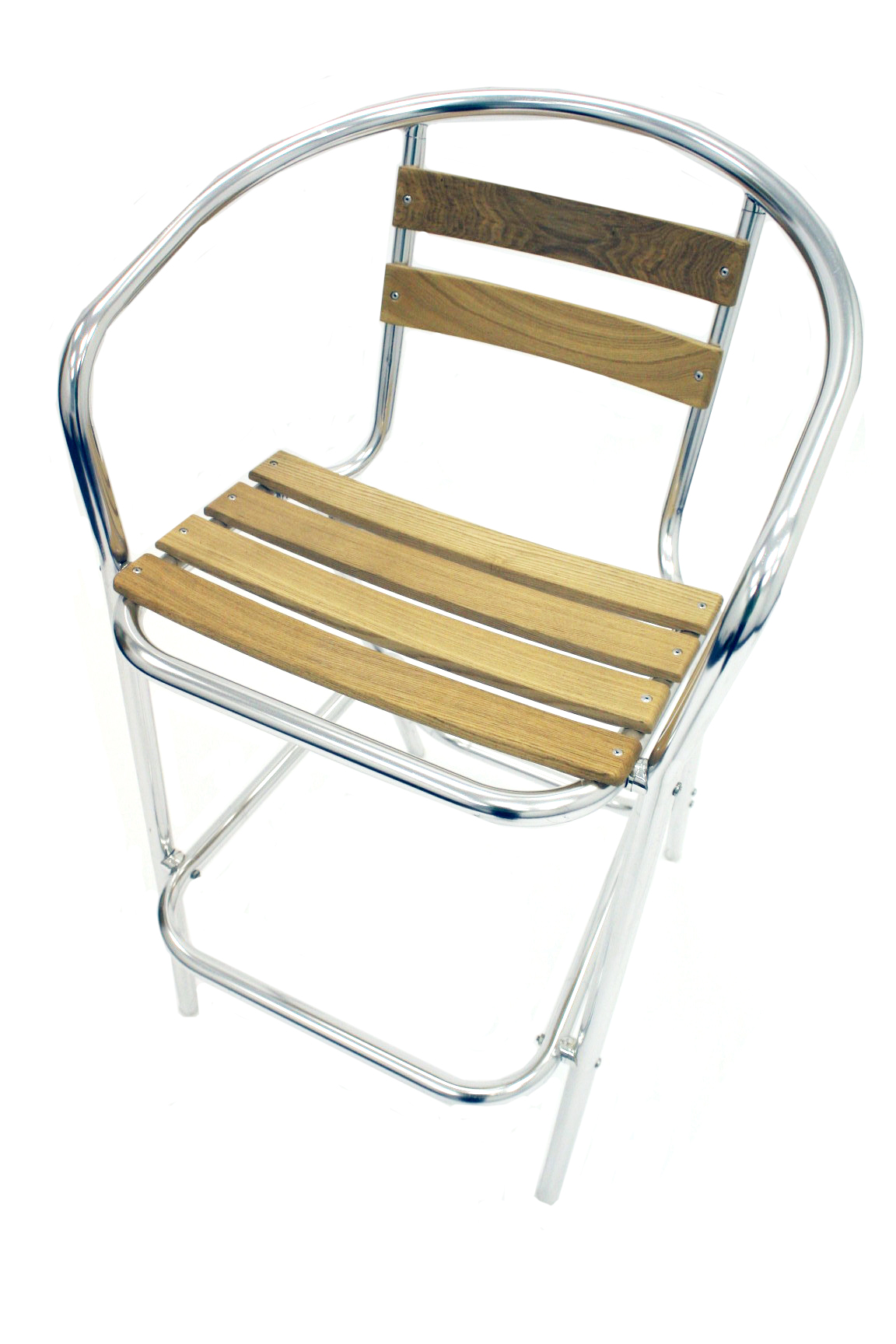 Lightweight tubular aluminium frame with an ash wood seat and back. BE Event Hire