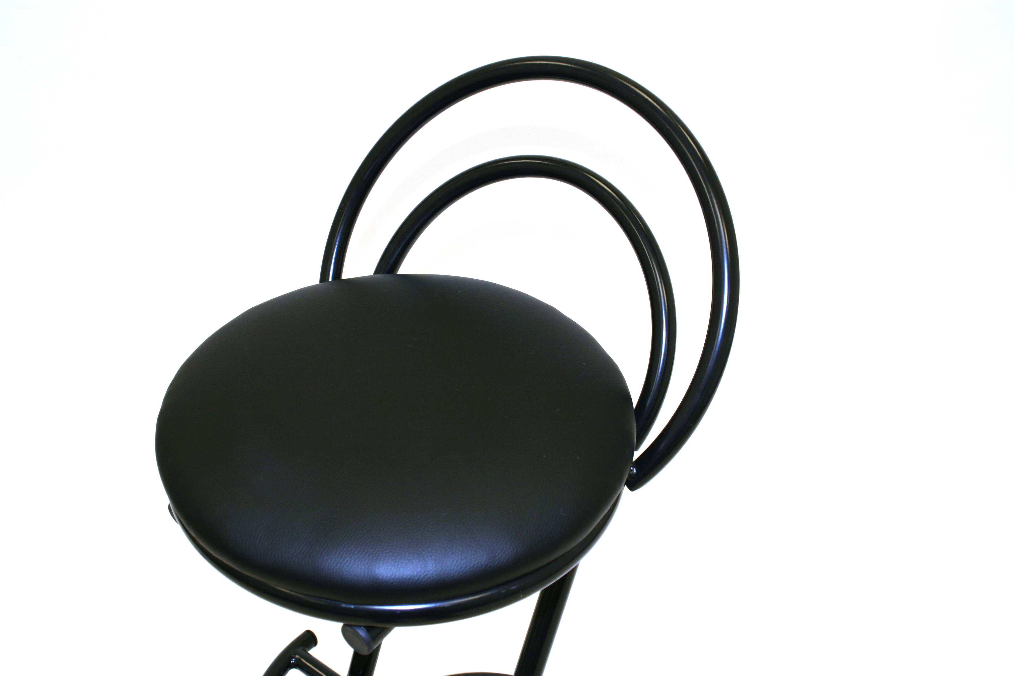Black cobra bar stools with a black metal frame - BE Event Hire