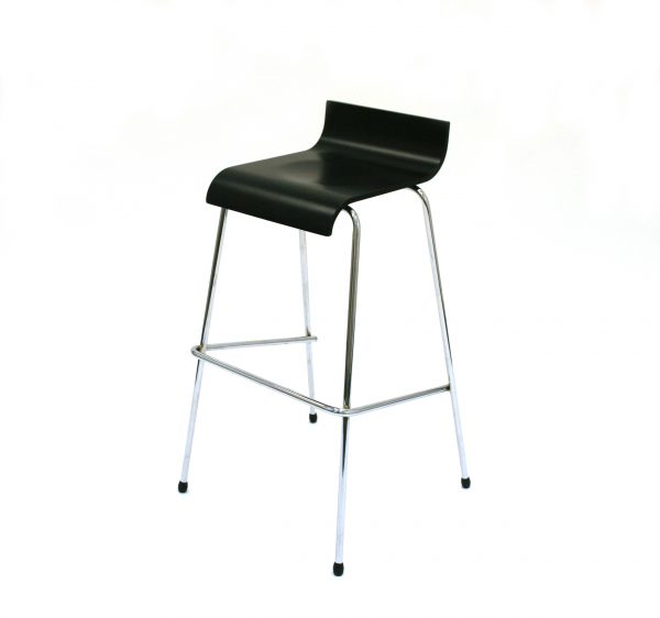 Black wooden bar stools with a chrome metal frame and foot rest - BE Event Hire