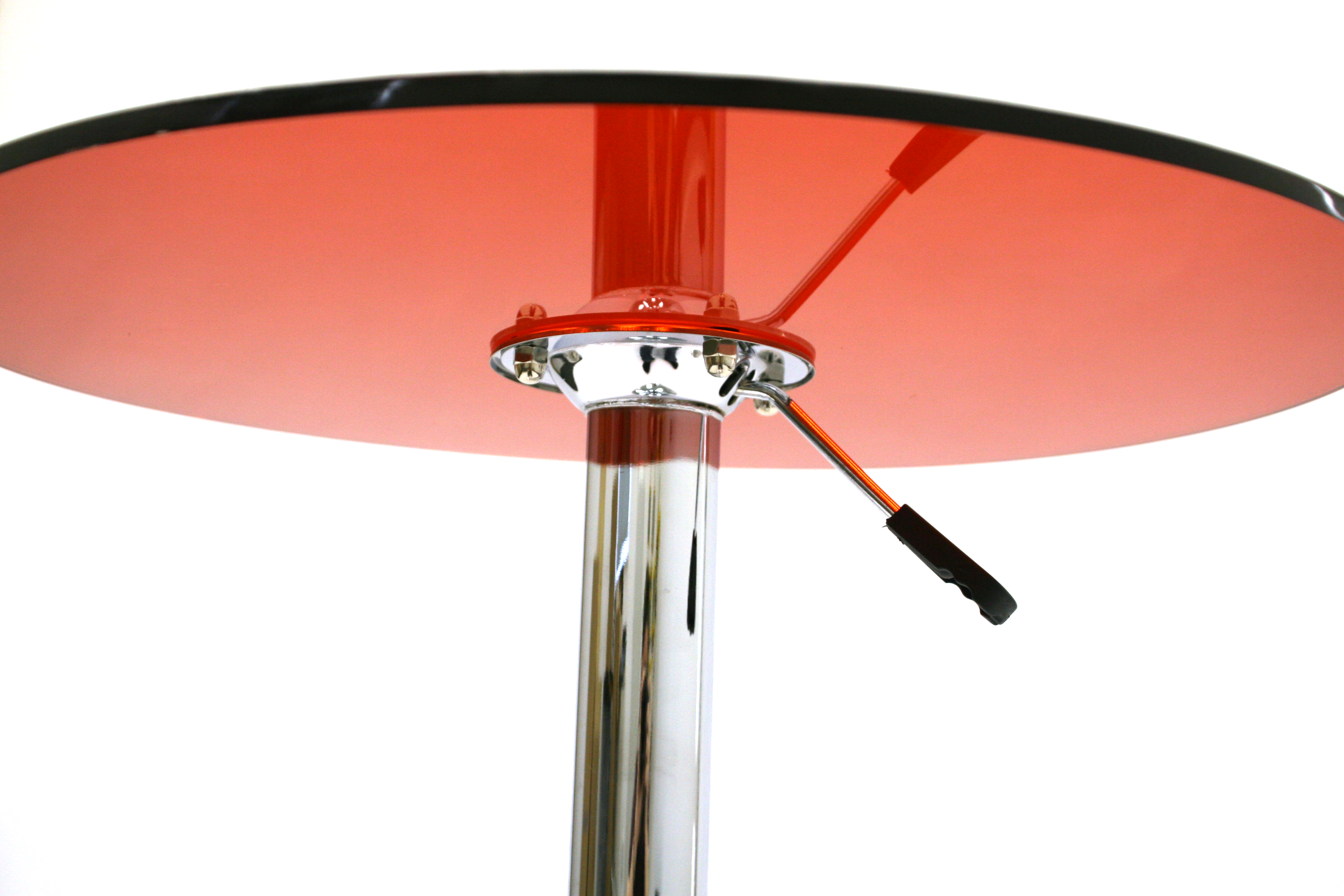 Red 60 cm diameter red acrylic swivel gas lift table with a chrome metal base - BE Event Hire