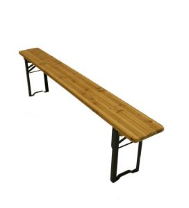 2 meter long wooden beer scout folding bench. BE Event Hire