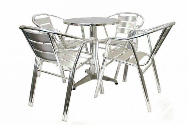 Aluminium Round Table & 4 Double Tube Aluminium Chairs - BE Furniture Sales