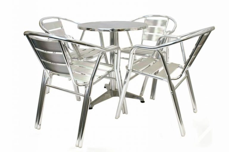 Aluminium Cafe Bistro Set – Pedestal Round Table & 4 Double Tube Aluminium Chairs - BE Furniture Sales