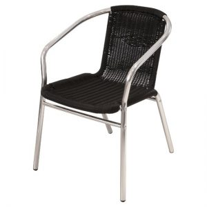 Black Rattan Chair and Aluminium Frame - BE Furniture Sales