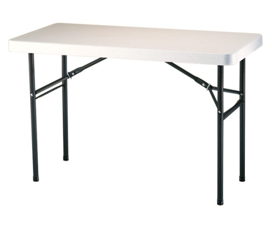 Sturdy 4' x 2' blow mold plastic table with steel folding legs - BE Event Hire