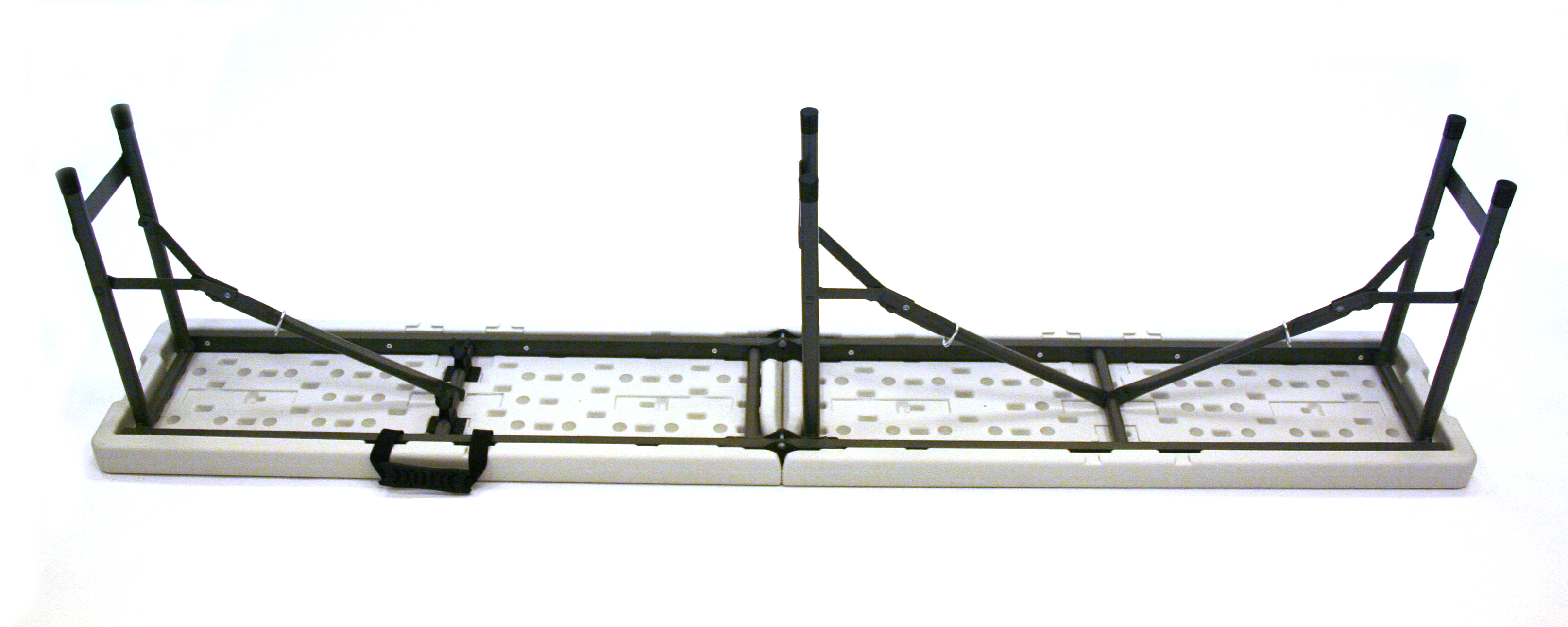 6' long (184cm) white folding plastic blowmolded bench - BE Event Hire