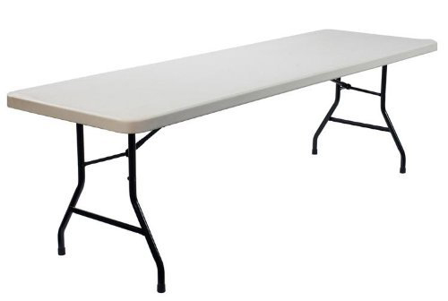 "Damaged ex hire 6' x 2' 6"" blow mold plastic table with steel folding legs - BE Event Hire"
