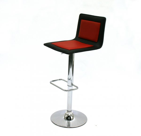 Black & Red Leather Bar Stools - Ex Hire - BE Furniture Sales