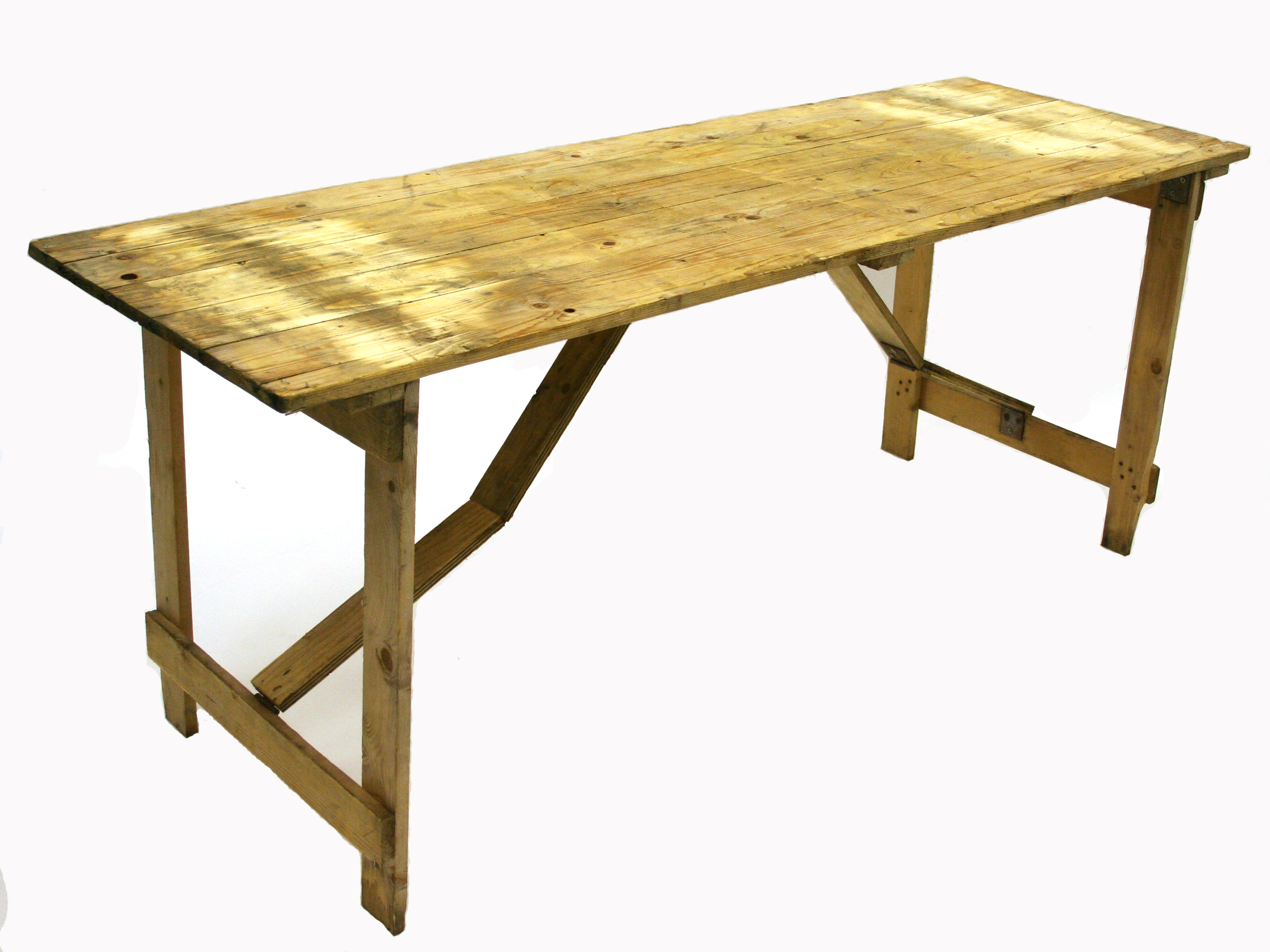 Wooden trestle table measuring 6' x 2' - BE Event Hire