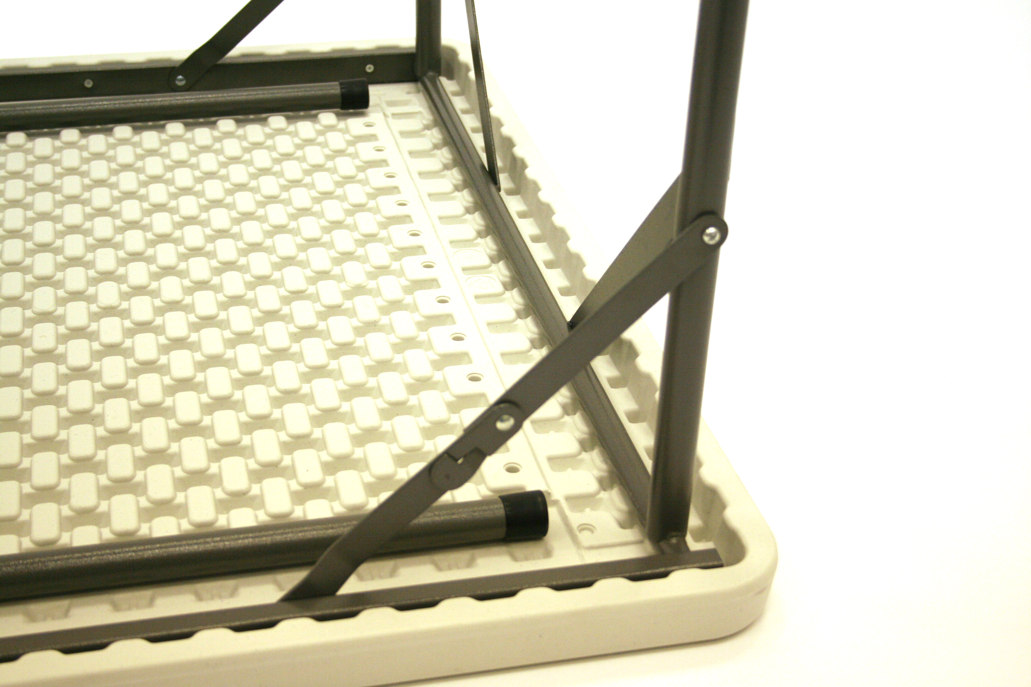 Sturdy 35'' (89cm) square blow mold plastic table with steel folding legs - BE Event Hire
