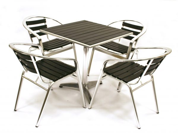 Black weatherproof Durawood Table & Chairs Garden Patio furniture - BE Event Hire