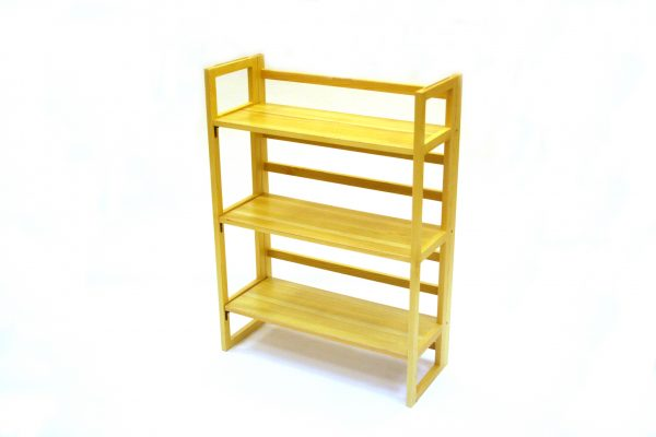 Stacking Wooden Bookshelves - 3 Tier Folding Book Shelf - BE Furniture Sales