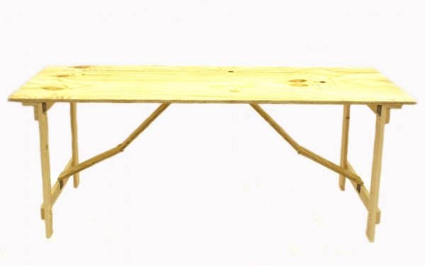 Ply wood  6' x 2' Trestle Table with folding legs  - BE Event Hire