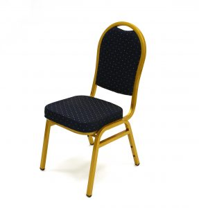 Premium Blue Banqueting Chair with Gold Frame - BE Furniture Sales