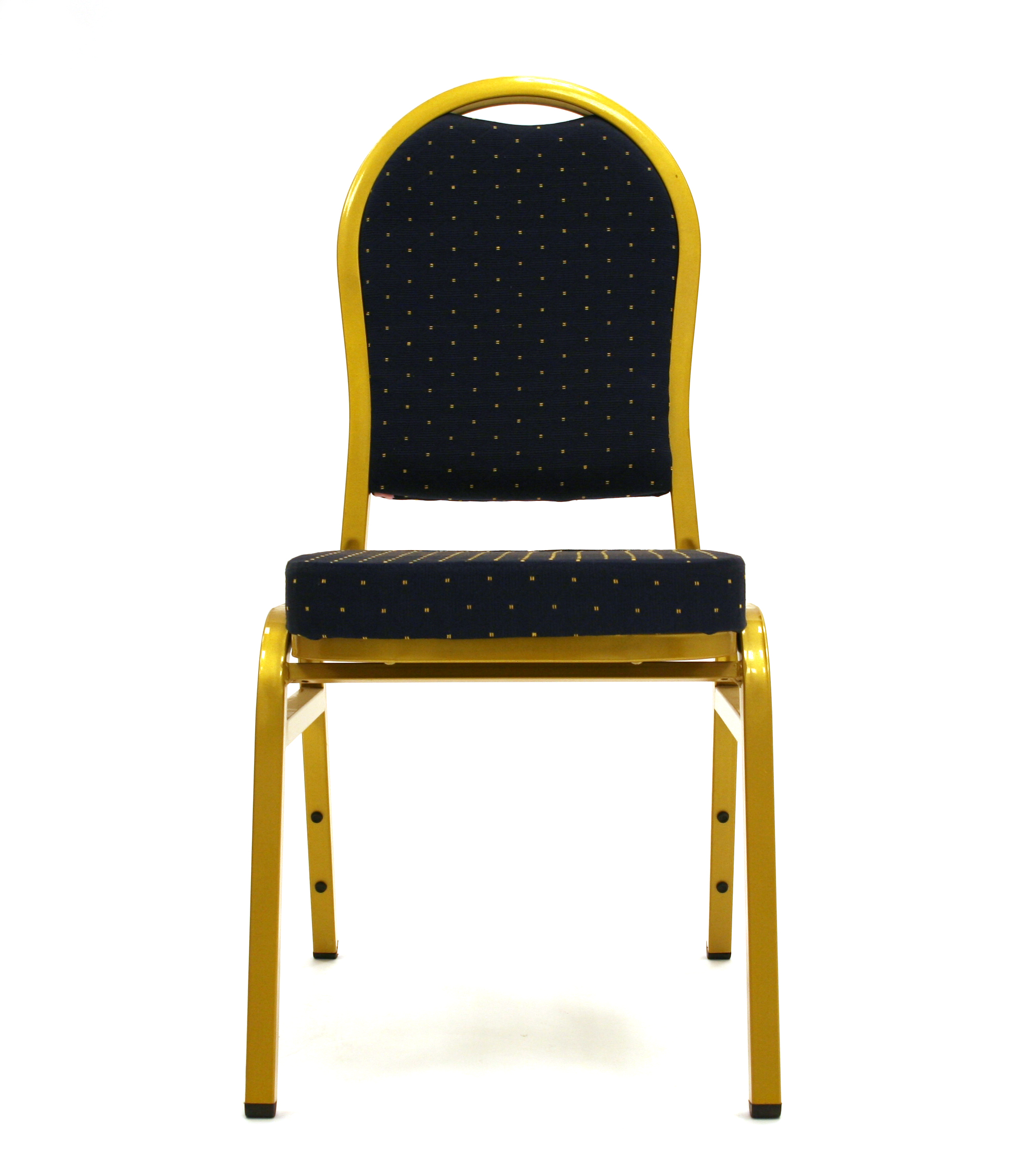 Gold steel framed banquet  chair with a dark blue padded seat & back - BE Event Hire
