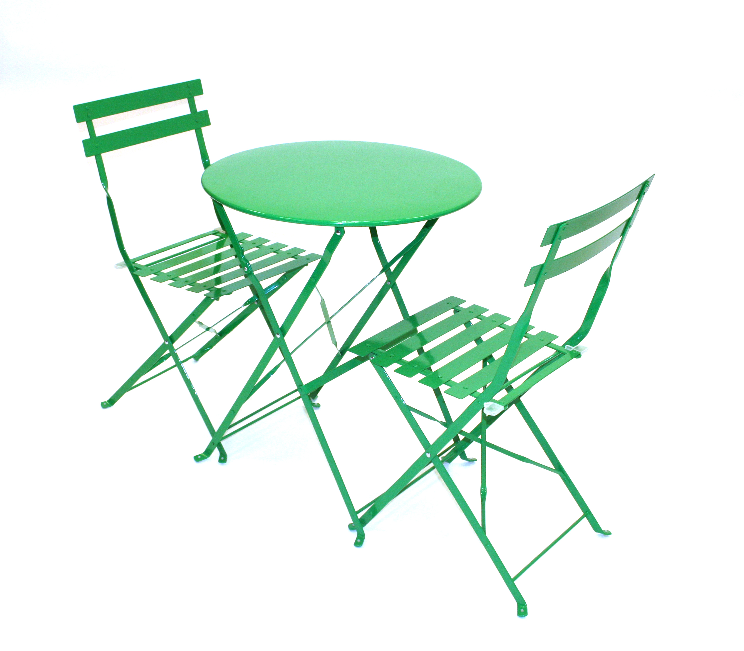 Green metal folding bistro balcony patio table and chair set be event hire