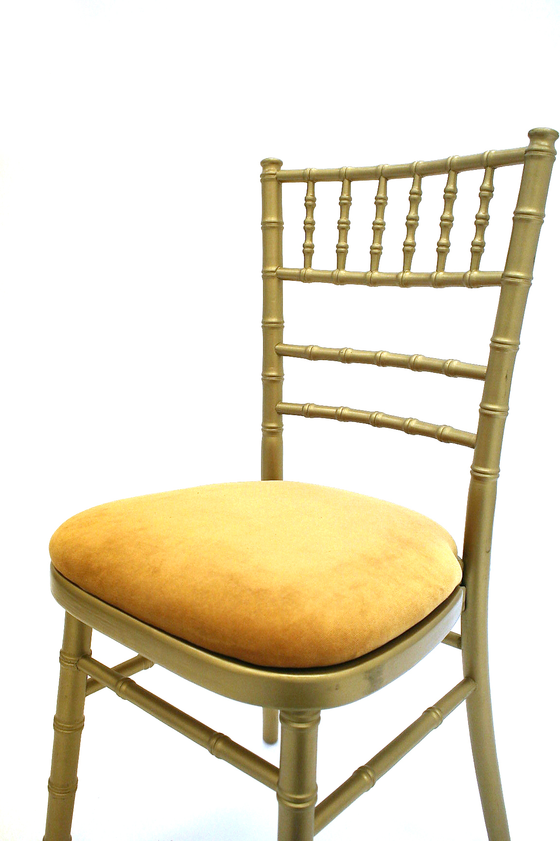 Gold wooden framed chiavari chair with a gold seat pad - BE Event Hire