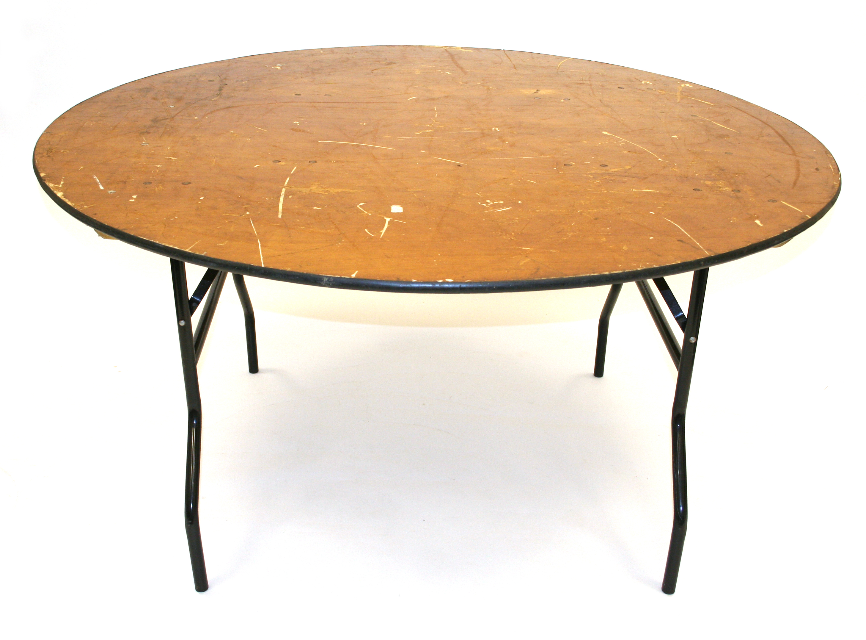 6' Diameter varnished plywood top round tables with steel folding legs. - BE Event Hire