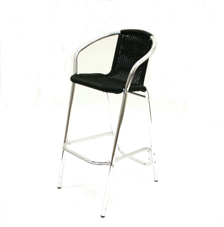 Black Rattan Bar Stool - Cafes, Events, Home - BE Furniture Sales