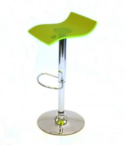 Green acrylic swivel bar gas lift stool with a chrome base and foot rest - BE Event Hire