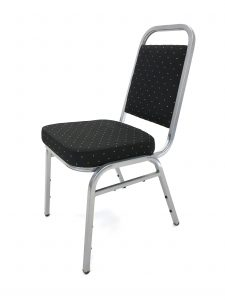 Ex Hire black banqueting chair with silver aluminium frame chair - BE Furniture Sales