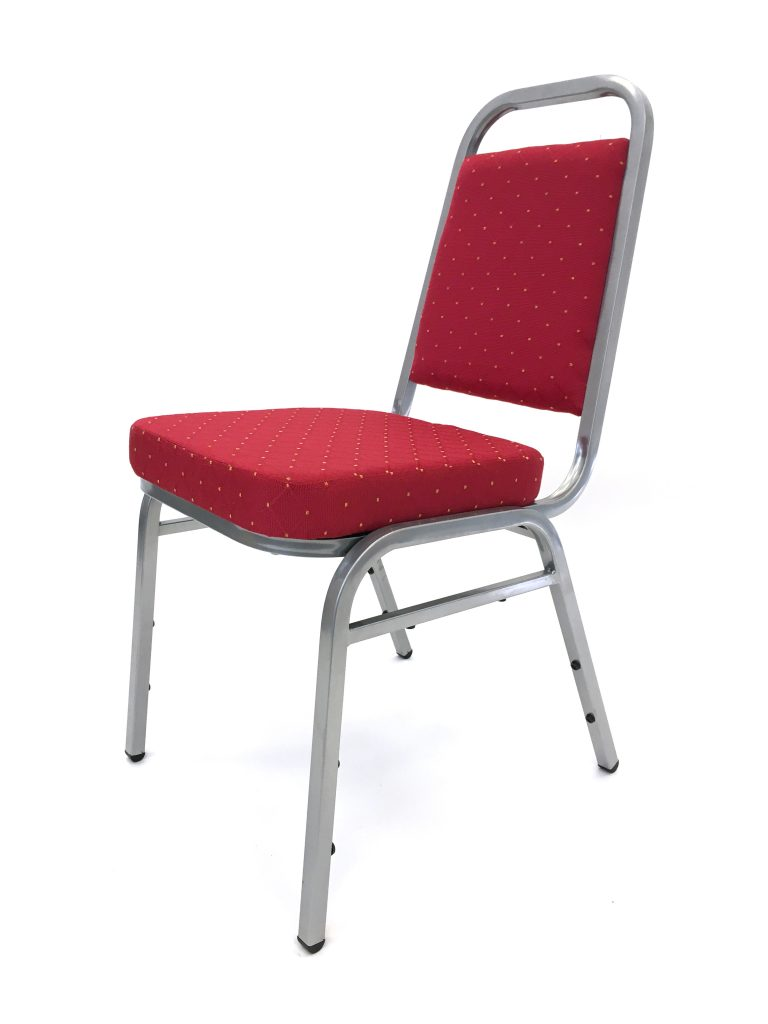 Ex Hire Red Budget Banquet Chair - Silver Frame - BE Furniture Sales