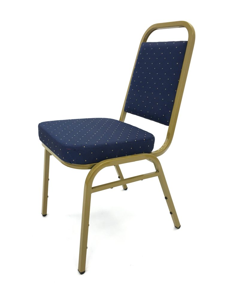 Blue Banqueting Chairs with Gold Frame - Budget - BE Furniture Sales