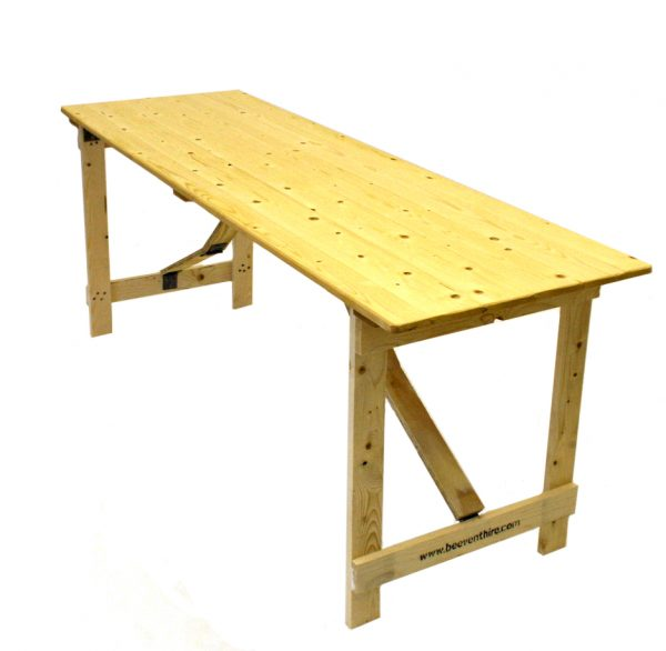 "Very sturdy 6' x 2' 6""  tongue and groove trestle table with wooden folding legs - BE Event Hire"