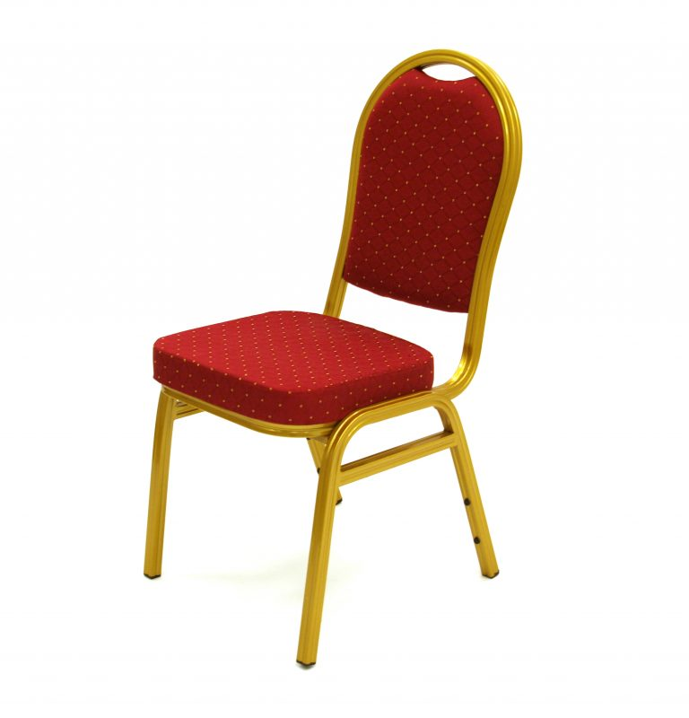 Red Aluminium Banqueting Chair - Gold Frame - BE Furniture Sales