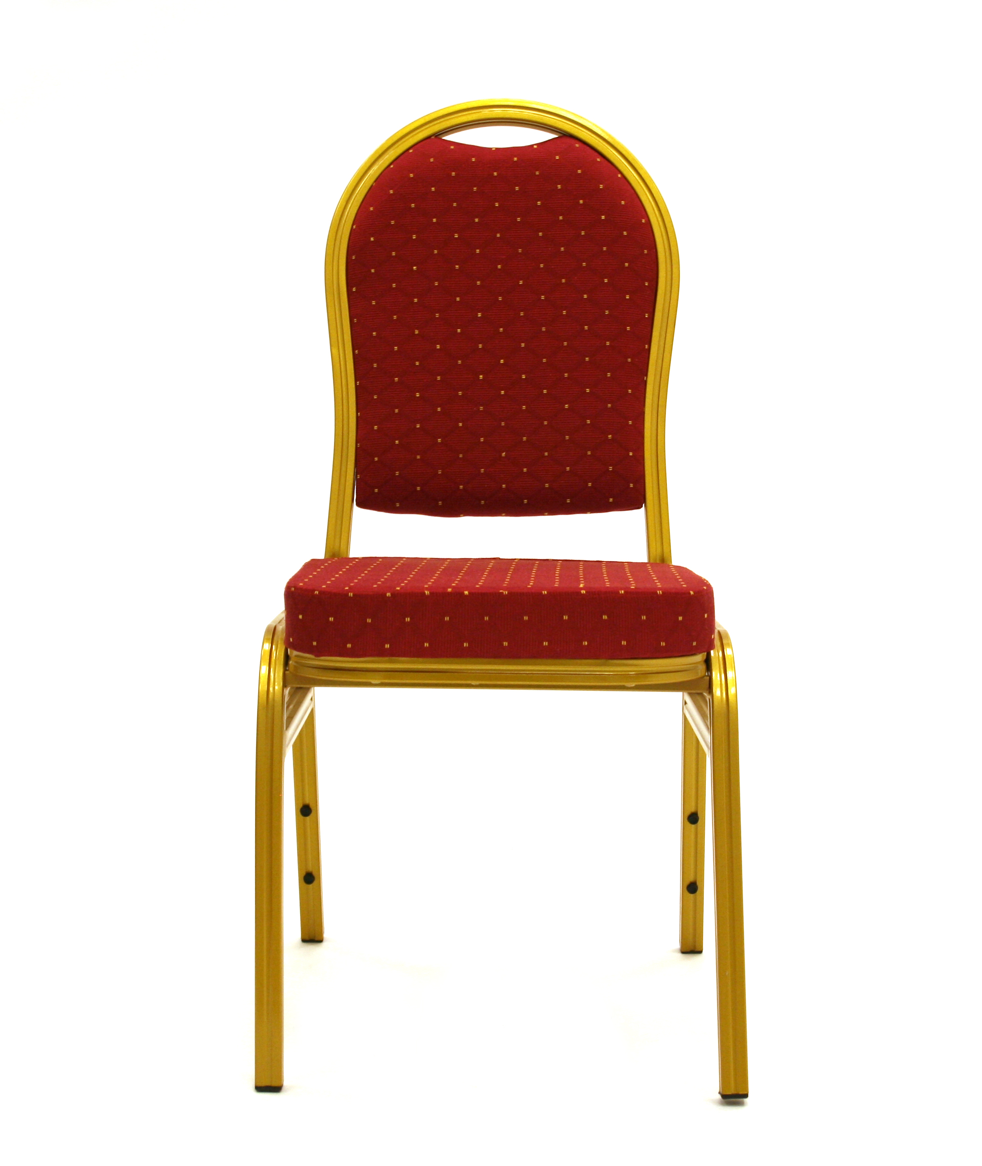 Front View of Gold Frame Red Padding Banqueting Chair - BE Furniture Sales